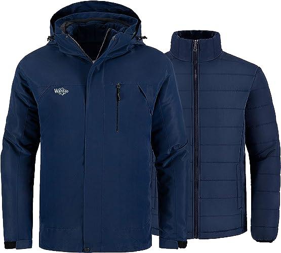 Wantdo Men's Waterproof 3 in 1 Ski Jacket Warm Winter Coat Windproof Snowboarding Jackets with Detachable Puffer Coat