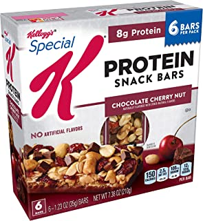 Special K Protein Snack Bars, Chocolate Cherry Nut, 6 Count per box, 7.38 Ounce, Pack of 8