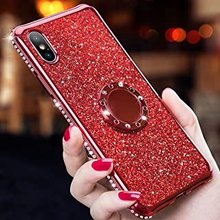 iPhone Xr Case,Glitter Cute Phone Girls Women Case with Kickstand, Bling Diamond Rhinestone Bumper Ring Stand Protective D...