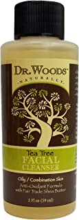 Dr. Woods Travel Trial Size Bottle Tea Tree Facial Cleanser with Shea Butter, 2 Ounce