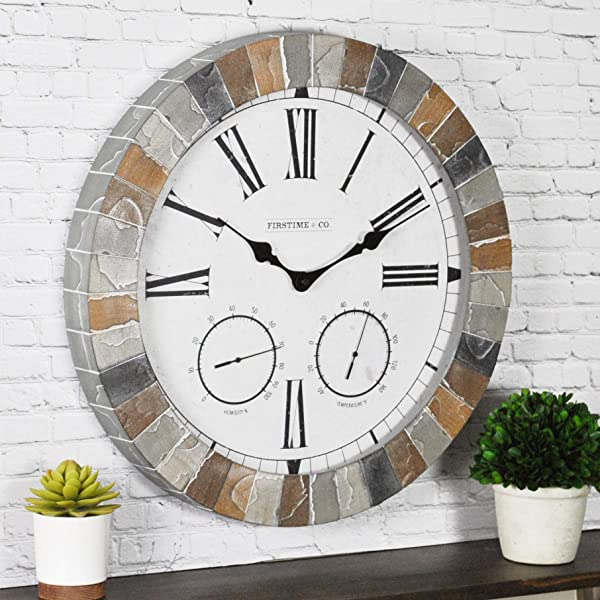 FirsTime Co 99670 Garden Stone Outdoor Wall Clock 18 Faux Slate