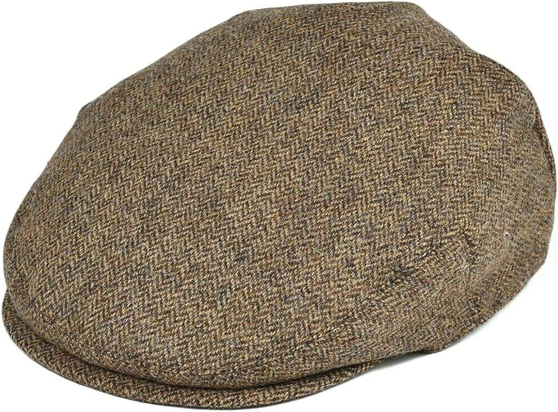 AOBRICON 100% Wool Flat Cap for Men Women Duckbill Caps Herringbone Newsboy Khaki Ivy Hat Cabbies Driver Beret