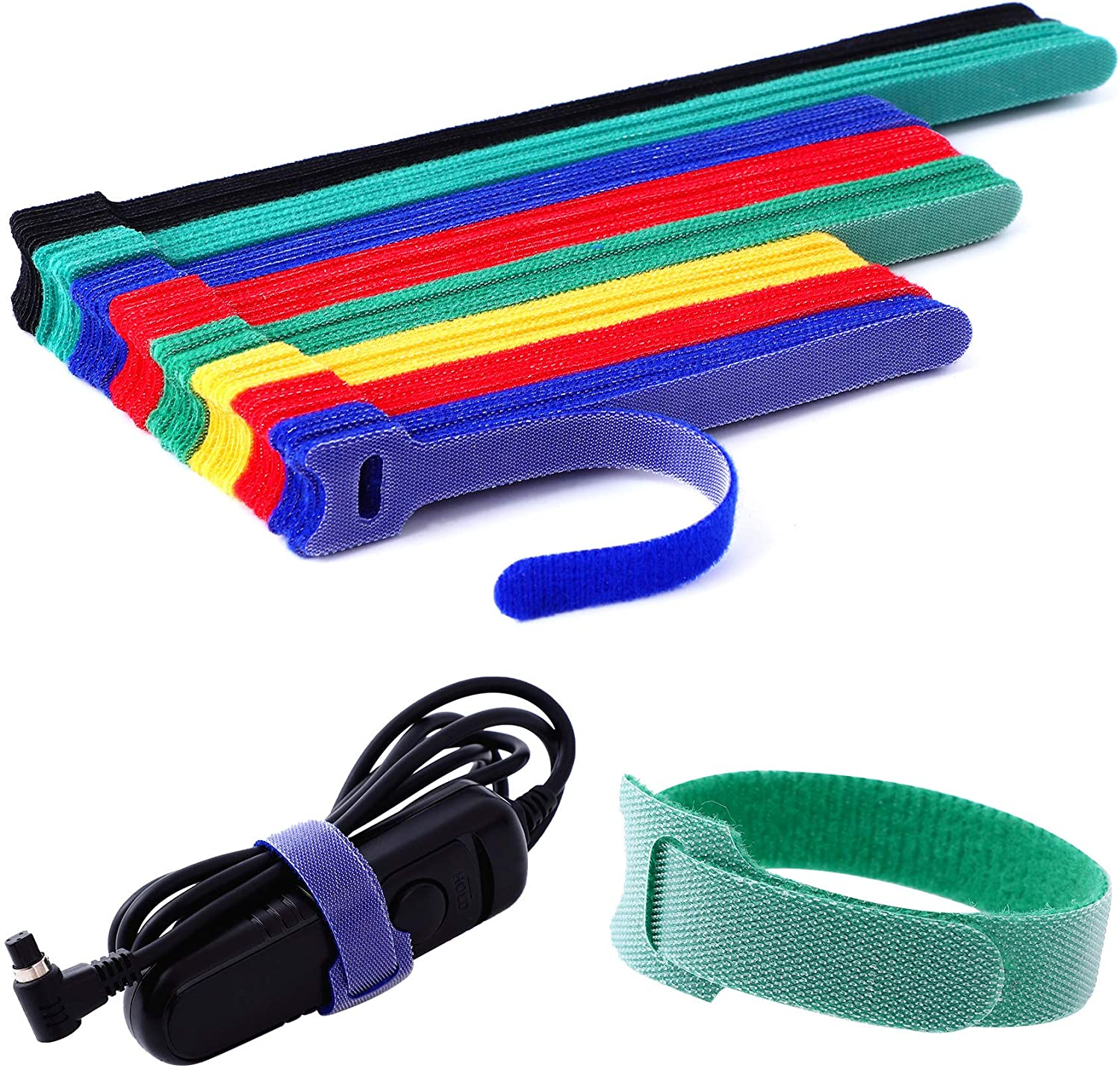 Ainuowei 80 pcs Reusable Fastening Cable Ties 3 Sizes 6/8/10 inch Adjustable Cord Ties Cord Straps Cable Organizer Hook and Loop Ties for Cord Management,5 Colors: Home Improvement