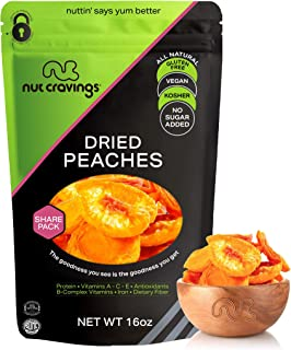 Sun Dried California Peaches, No Sugar Added (16oz - 1 Pound) Packed Fresh in Resealable Bag - Sweet Dehydr...