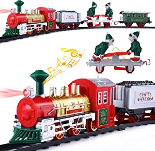 Unomor Train Set with Elf Handcar, Electric Train Toy Set with Light & Sound, Steam Train for Kids, Railway Tracks Kids To...