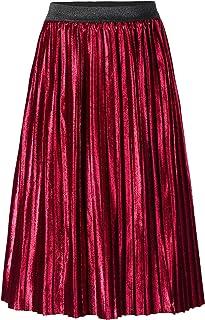 Tremour Little Big Girls Velvet Pleated Skirt Adjustable Waist Midi Skirt 1 Years - 12 Years