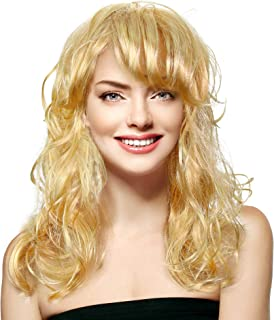 Skeleteen Curly Blond Wavy Wig - Long Curls Yellow Blonde Princess Goddess Wigs with Bangs for Kids and Adults