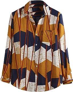 Koszule męskie, roud Hem Luźna męska koszula na co dzień z kieszenią na klatce piersiowej Duży rozmiar Fantazyjna bluzka z...