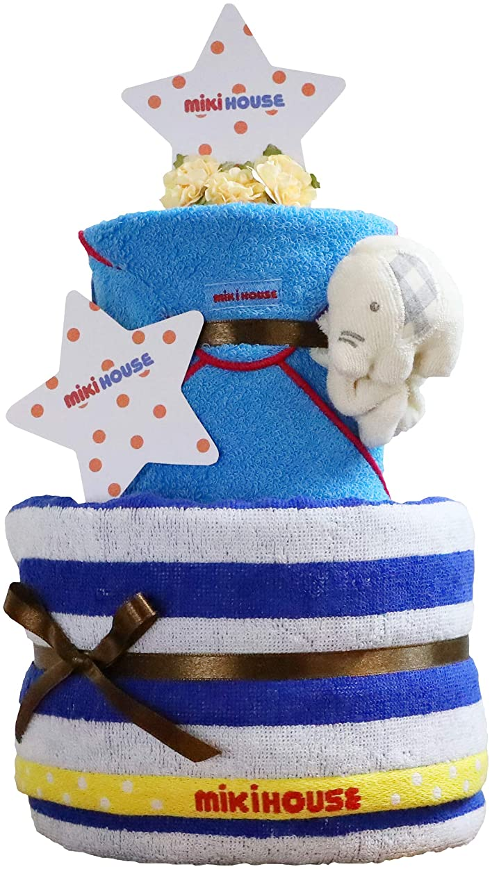 取るまたポスト印象派mikihouse(ミキハウス) 使用 出産祝い 日本製 2段 おむつケーキ 今治タオル パンパース テープタイプ S オーガニック ガラガラ imabari towel 女の子 男の子 男女兼用