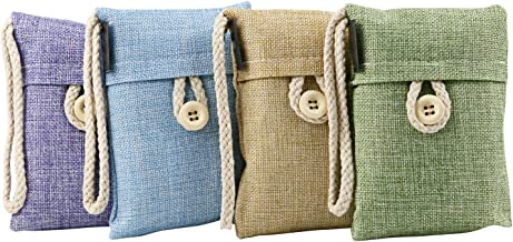 TRIXES Set of 4 Purifying Bamboo Charcoal Linen Bags Hanging Pouches for Wardrobe Clothes Storage Spaces Absorb Musty Smells for Fresher Home