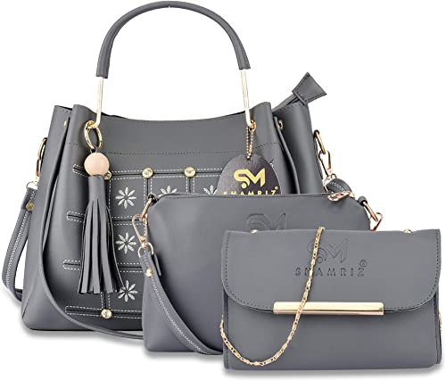 Women s Faux Leather Designer Flower Embroidered Bags Fashion Handbags Sling Bag Clutch Combo of 3 SR 3 EMB Combo Grey