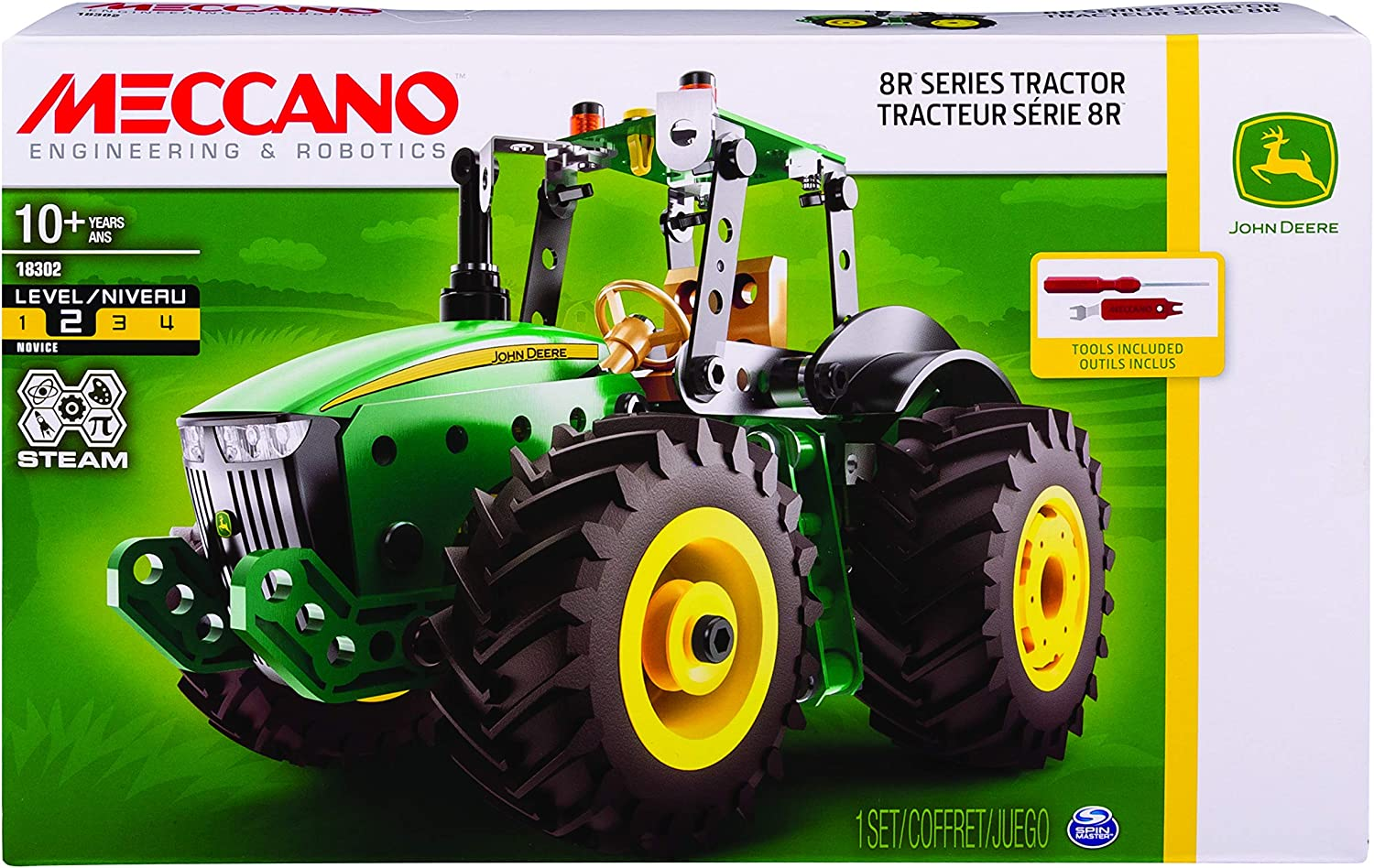Meccano by Erector John Deere 8R Series Tractor Stem Building Kit with Working Wheels, for Ages 10 and Up