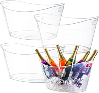 Zilpoo 4 Pack - Large Plastic Oval Storage Tub, 18 Liter Wine, Beer Bottle Drink Cooler, Parties Ice Bucket, Party Beverage Chiller Bin, Baskets, Clear
