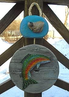 Rustic driftwood wall art with folk art papier mache trout