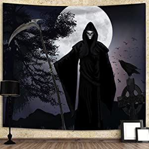 Halloween Tapestry Grim Reaper Creepy Wall Tapestry, Black Tapestry Wall Hanging Aesthetic Tapestries Trippy Wall Hanging Decor for Bedroom, Living room, 60 X 50 inches (grim Reaper)