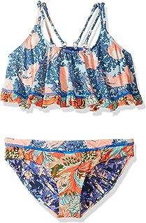 Girls' Mixed Print Flounce Top Bikini Swimsuit Set