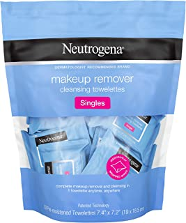 Neutrogena Makeup Remover Cleansing Towelette Singles, Daily Face Wipes To Remove Dirt, Oil, Makeup & Waterproof Mascara, Individually Wrapped, 20 Count