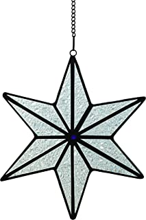 Alivagar Stained Glass Holiday Decor Suncatcher Silver Snowflake Ornament, 6
