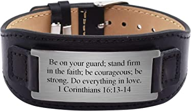 Pink Box Mens Genuine Leather Scripture Bracelet - 1 Corinthians 16:13-14 - Silver -