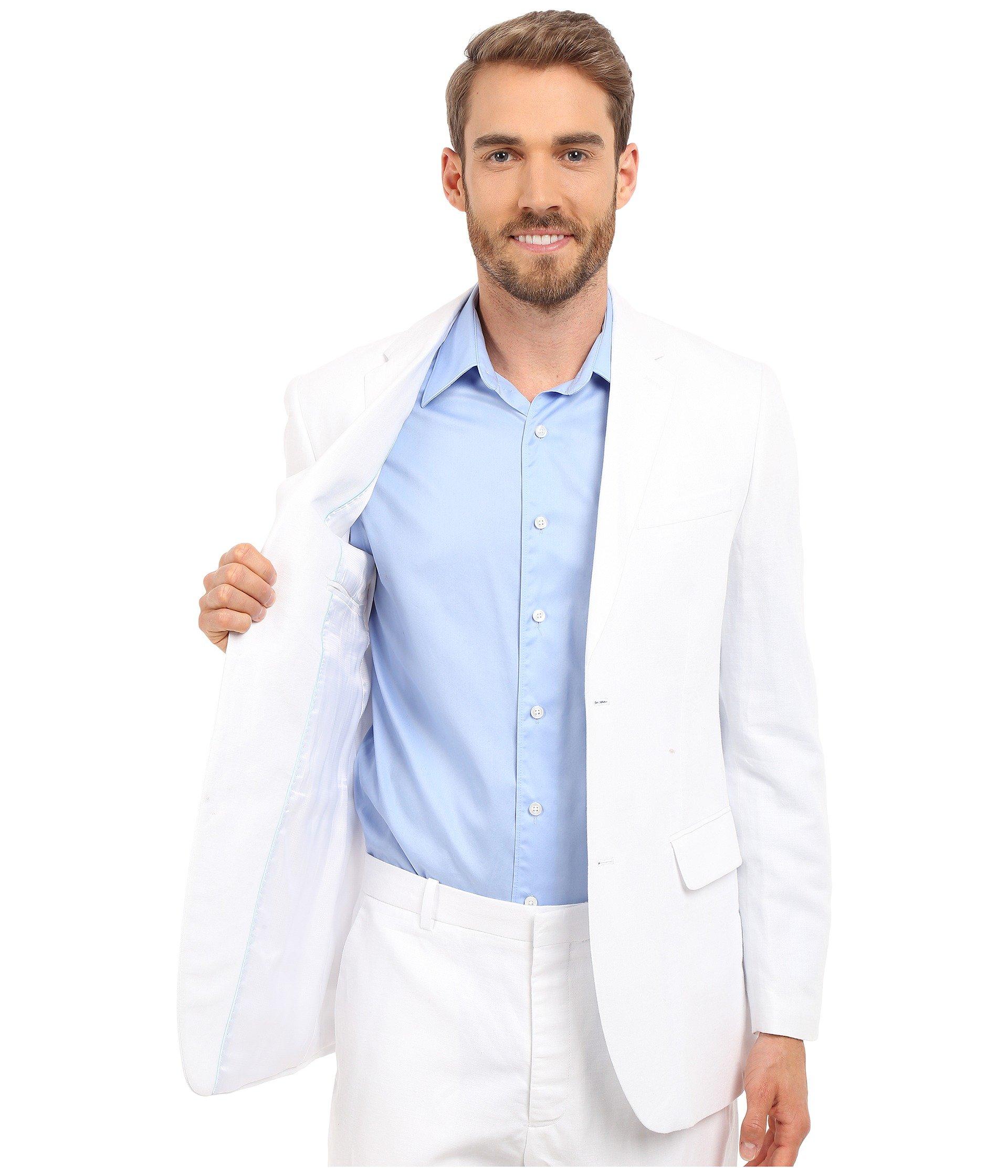 White Bright Linen Ellis Jacket Perry Suit ZwIXvw4q