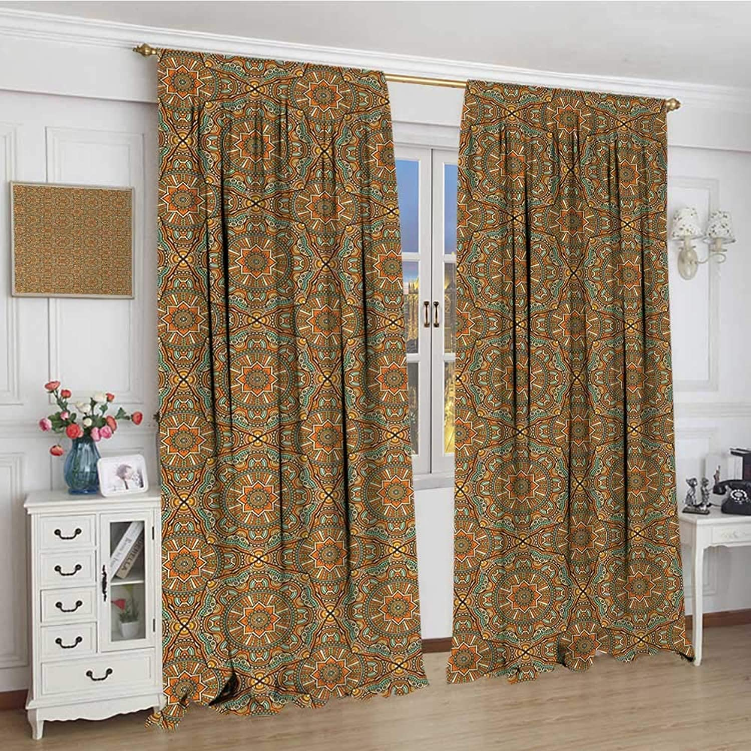 Smallbeefly Traditional Widened Room Darkening Curtains Bohemian Mgoldccan Star Ornamental Scroll Lines Curves Vintage Illustration Drapes Living Room 120 x84  Multicolor