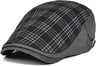 VOBOOM Men s Cotton Flat Cap Plaid Ivy Gatsby Newsboy Cabbie Driving Hat  Cap 026 dd74b9e735bd