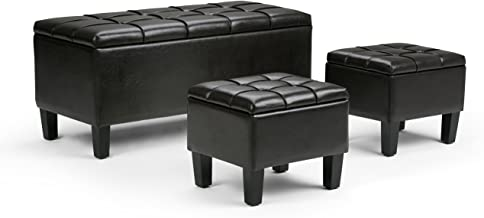Simpli Home 3AXC-OTT238 Dover 44 inch Wide Contemporary Rectangle 3 Pc Storage Ottoman in Tanners Brown Faux Leather