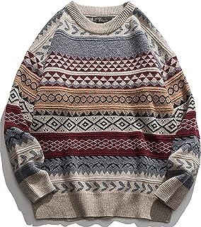 Y2k - Suéter vintage para mujer, de manga larga, con cuello redondo, de punto, para otoño, invierno (color: rojo, talla: M)