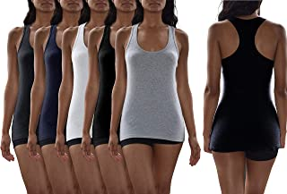 Women's 5 Pack Flat Knit Jersey Flex Racer Back Tank Tops/Cotton -Spandex Stretch Color Tank Tops