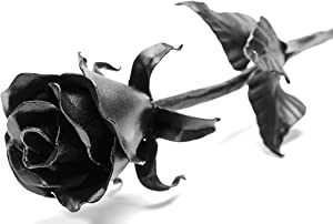 Dealgames BLACK ROSE XL Iron Wrought Handcrafted Flower Gift Metal