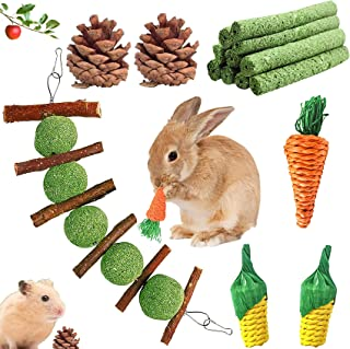 Werfeito 16 Pack Rabbit Chew Toys Set, Natural Bunny Toys for Dental Health, Handmade Bunny Toys for Rabbits, Apple Sticks...