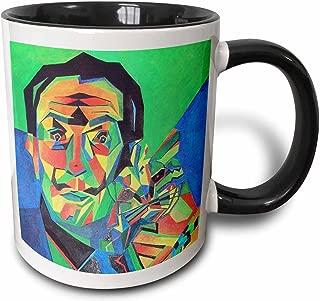 3dRose 46752_4 Cane, Salvador dali, Ocelot, Portrait, Man, Male, cat Ceramic Mug 11 oz Black/White