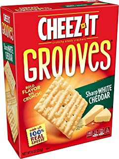 Cheez-It Grooves, Crunchy Cheese Snack Crackers, Sharp White Cheddar, 9oz Box