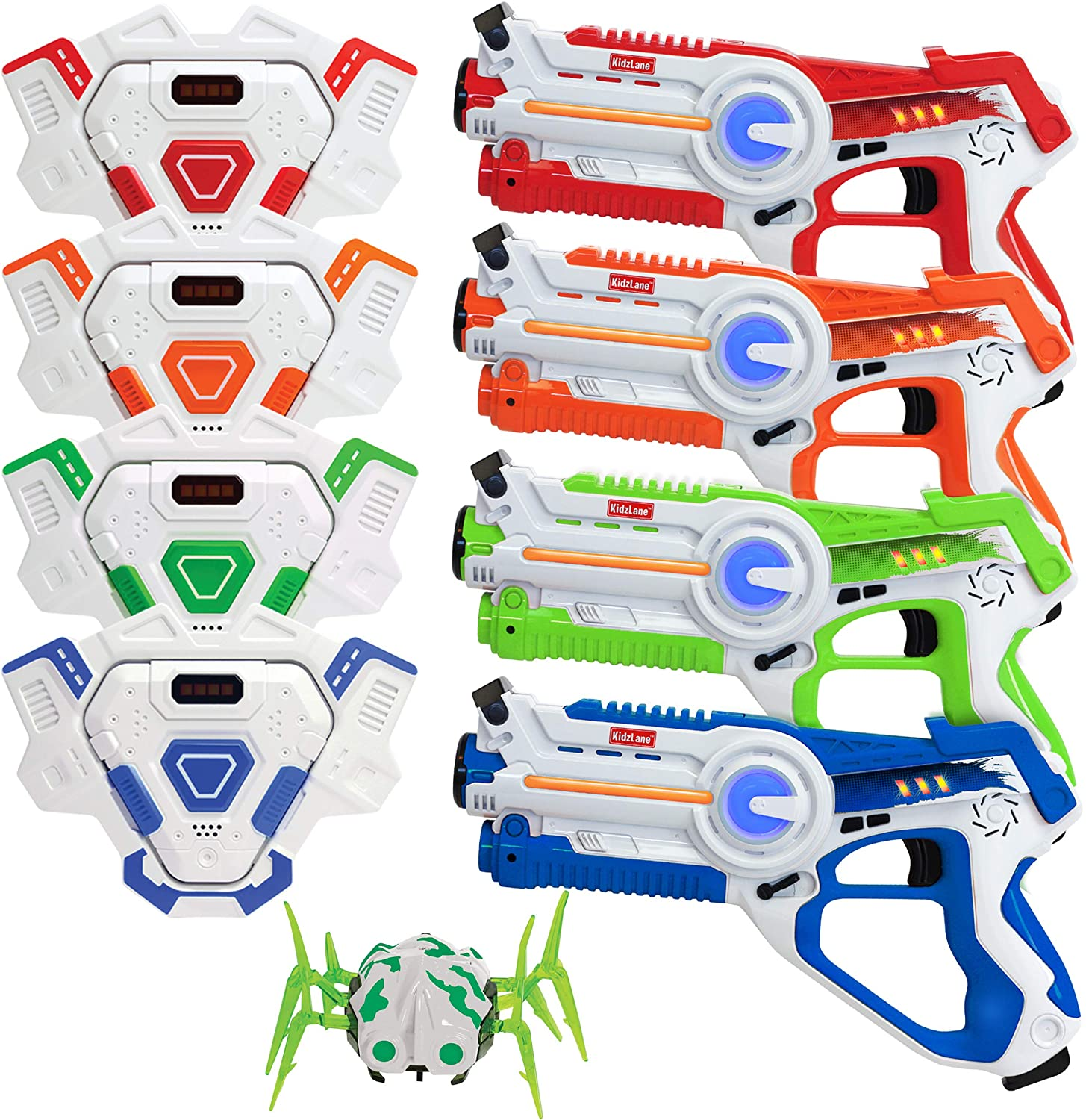 Kidzlane Laser tag Set – Lazer Tag Set of 4 with Vest and Laser Tag Spider Target – Laser Tag Game for Kids Boys Age 8+ - Indoor or Outdoor Fun Toy for Kids, Teens Boys and Girls