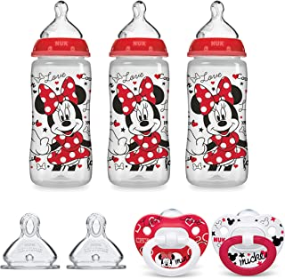 NUK Disney Smooth Flow Bottle & Pacifier Newborn Set, Minnie Mouse, 0+ Months