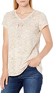 RUBY RD. Women's Textured Burnout Knit Short Sleeve with Embellished Neck