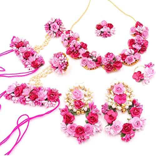 12seasons Handmade Flower Jewellery Set Nacklace Earrings Tika For Women Girls Mehandi Haldi Wedding Bridal Baby Shower Style2