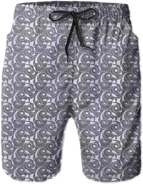 Geometric Retro Pattern with Seashell Inspired Waves and Curls Print Printed Beach Shorts for Men Swim Trucks Mesh Lining,XXL