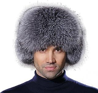 a4a541b923b44 URSFUR Winter Mens Trapper Hat Real Leather and Fox Fur Russian Ushanka Cap