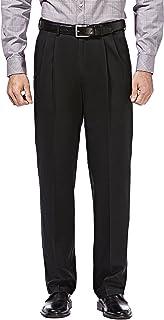 HAGGAR Men's Premium No Iron Classic Fit Expandable Waist Pleat Front Pant, Black, 44x29