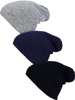 Syhood 3 Pieces Winter Slouchy Trawler Beanie Oversized Knit Hat Watch Hat Warm Skull Cap for Men Women