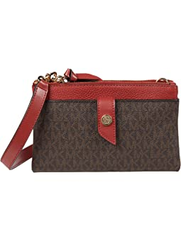 마이클 마이클 코어스 Michael Michael Kors Charm Medium Tab Double Zip Phone Crossbody,Terracotta