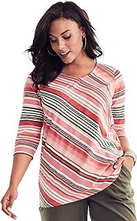 Women's Plus Size Diagonal Stripe Tee