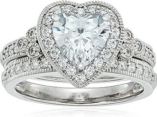Platinum-Plated Sterling Silver Swarovski Zirconia Heart Antique Ring, Size 8