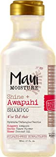 Maui Moisture Shine + Awapuhi Moisturizing Vegan Shampoo with Coconut Oils for Shiny Hair, Silicone-Free & Sulfate-Free Surfactant Aloe Shampoo to Detangle & Hydrate Dull Hair, 13 fl. Oz