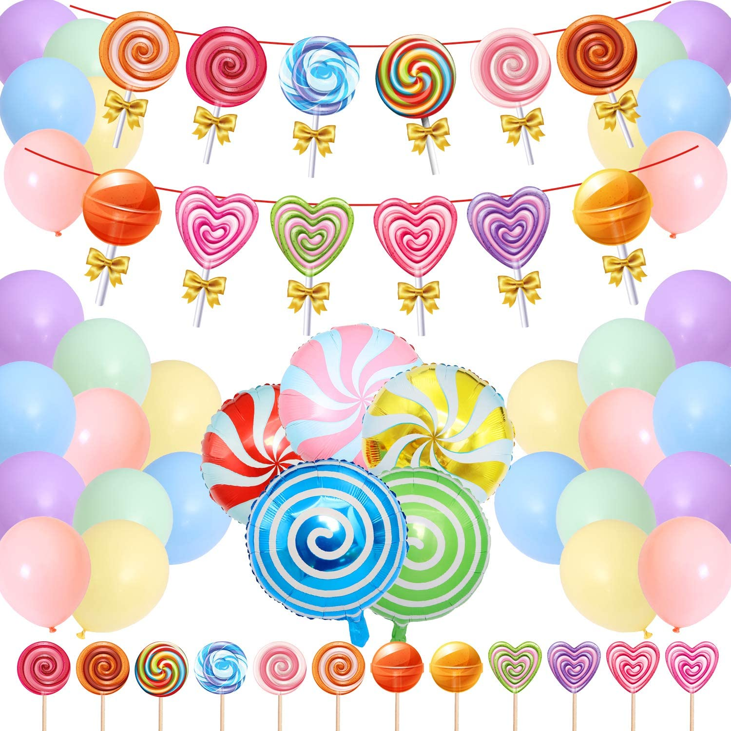 Candyland Decorations Includes Banner – 24 Cupcake Toppers