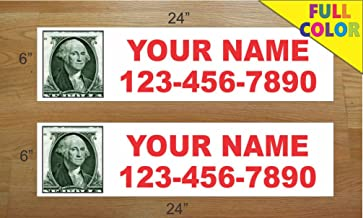 2-6x24 Custom Photo Red Text Real Estate Rider Sign Name and Phone Picture Pic