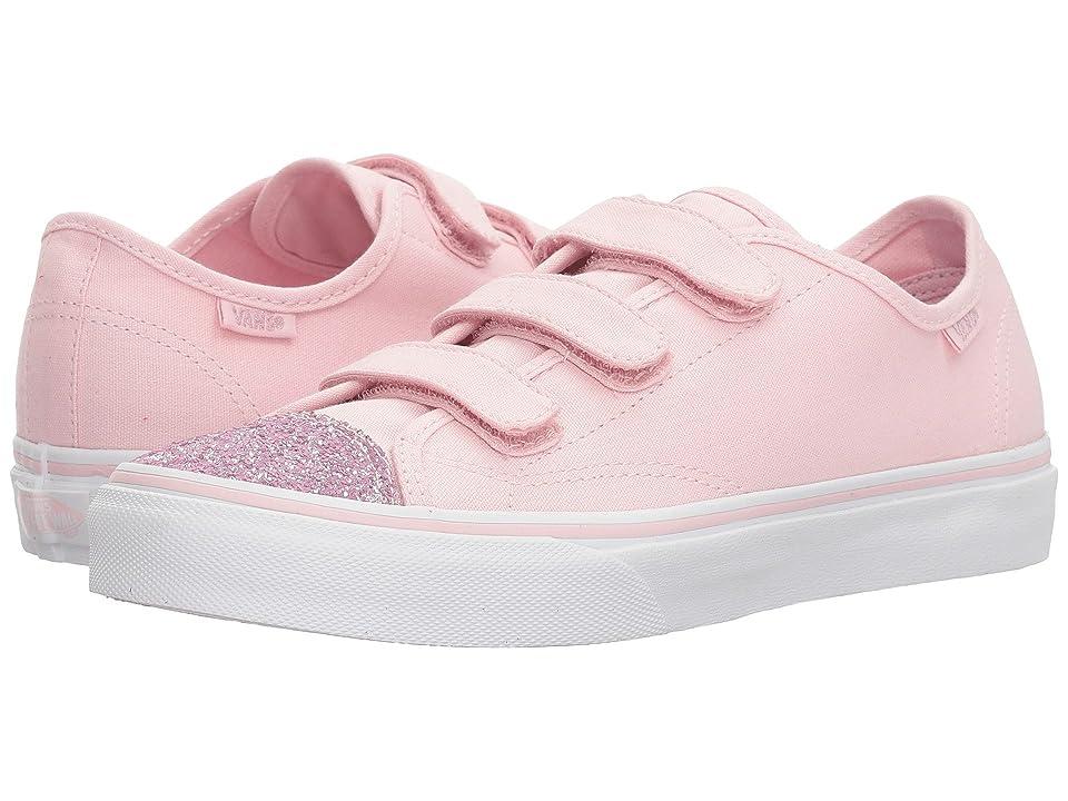 Vans Kids Style 23 V (Little Kid/Big Kid) ((Glitter Toe) Chalk Pink/True White) Girl