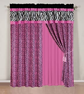 4 - Piece Rod Pocketed HOT PINK Black White Zebra Leopard Micro Fur curtain set Drapes / Window Panels 120