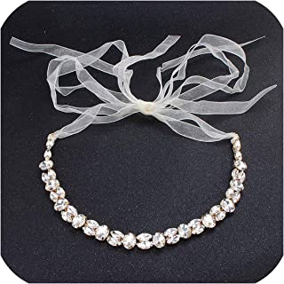 Almighty-Shop Simple Austrian Crystal Women Head Chains Wedding Hair Jewelry Bride Headbands Headpieces Bridal Bands,Gold